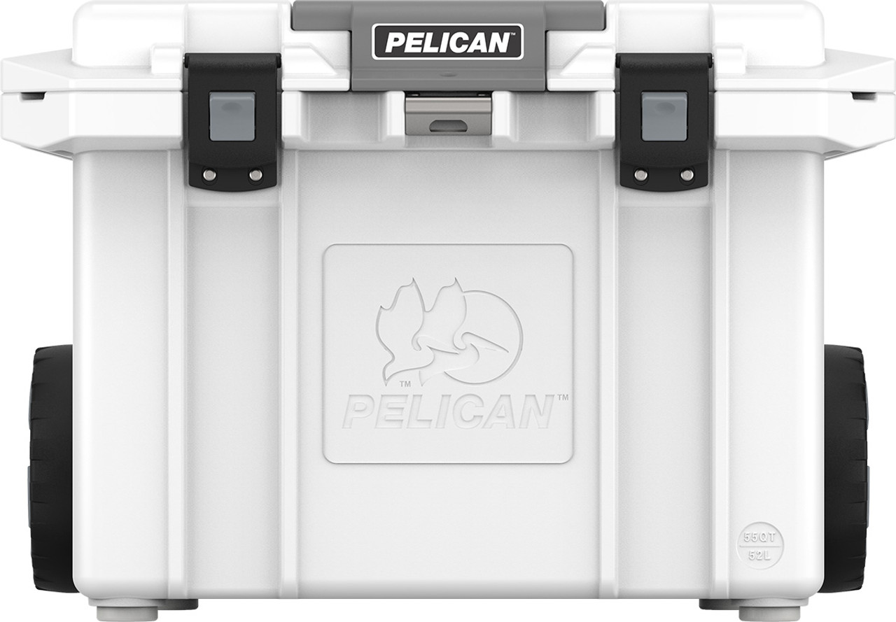 Pelican 55QT Tailgater  Wheeled Cooler with Heavy Duty Wheels and Press and Pull Latches, includes 2 trays, White, 30x21x21, 53 lbs