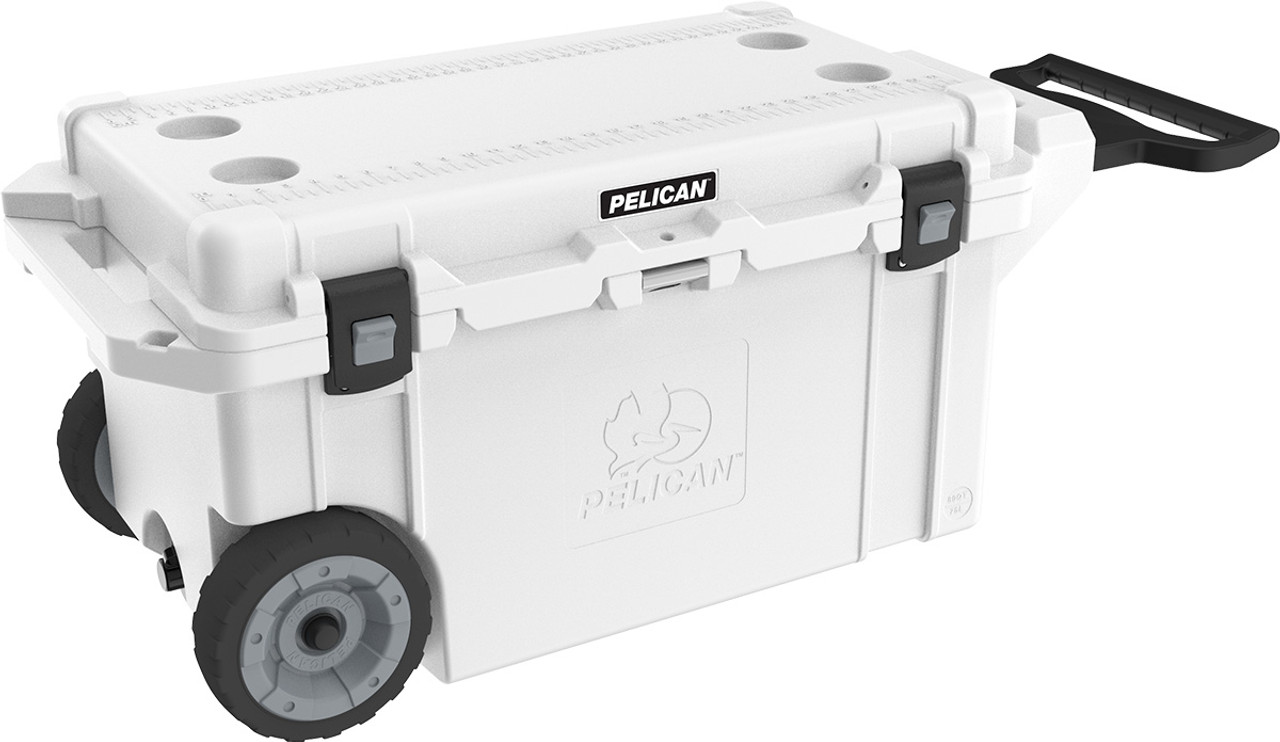 Pelican 80QT Elite  Wheeled Cooler, Corrosion Resistant Stainless Steel Hardware, with Heavy duty wheels, built in trolly handle, and built in bottle opener, available in Tan or White, 43x21x20, 61 lbs