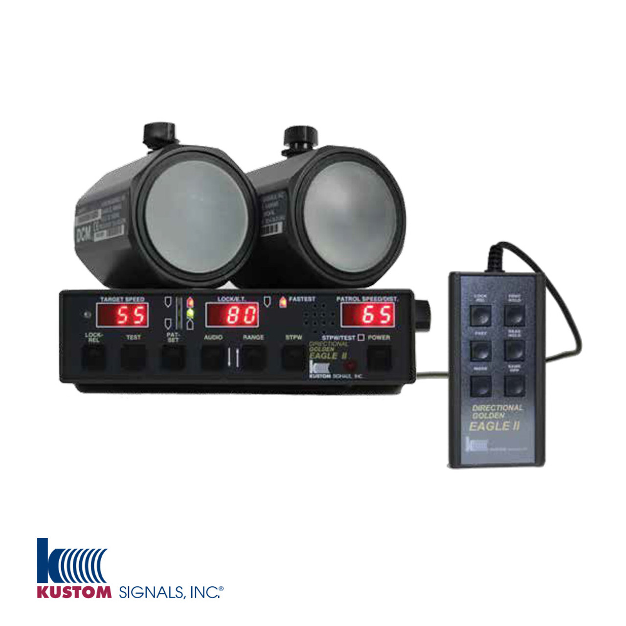 Kustom Signals Golden Eagle II Ka-Band DCM Dash-Mounted Police Radar, single or dual antenna, same direction mode