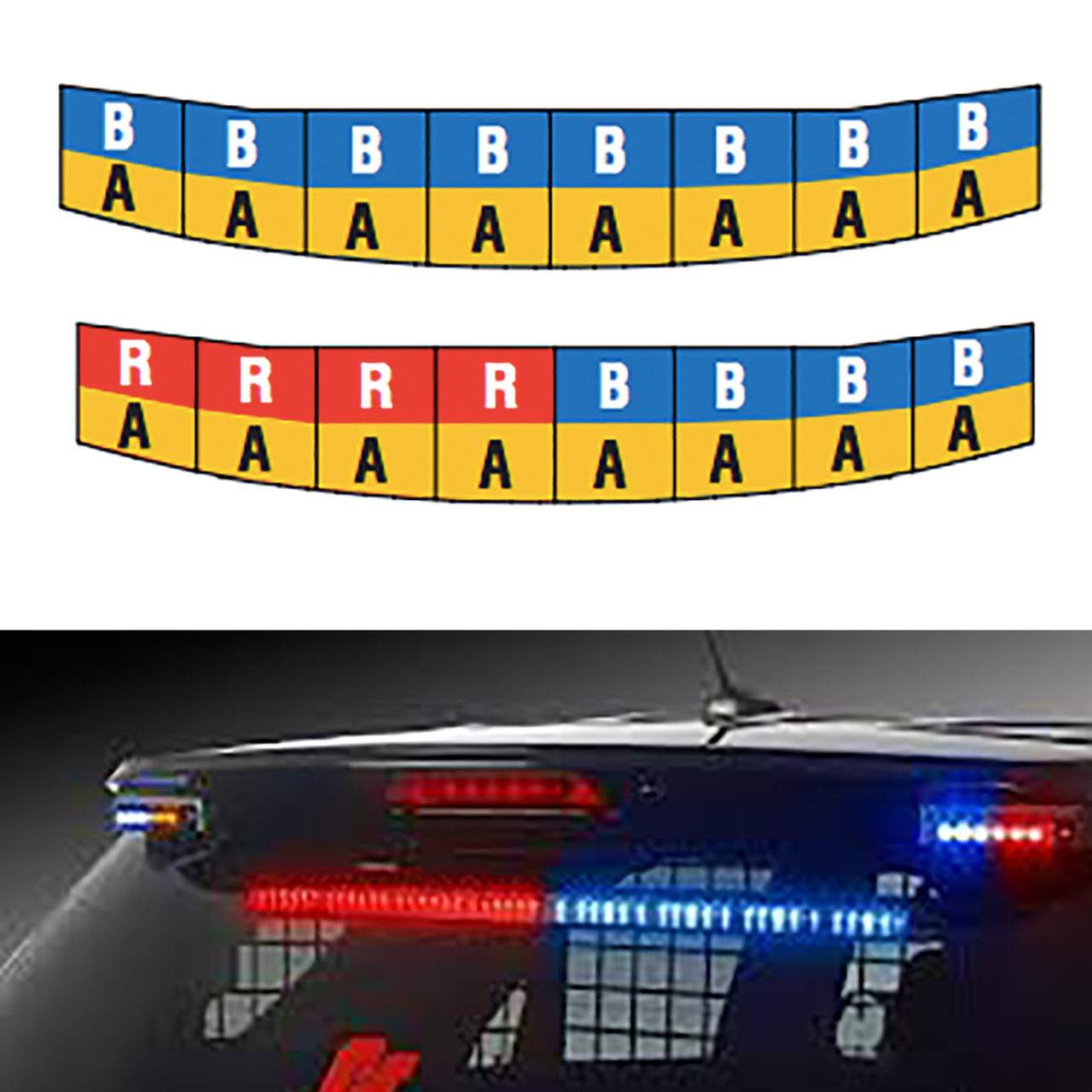 Federal Signal Chevy Tahoe SIFMH Upper Rear Facing Interior Lightbar, Spectralux ILS, Dual Color per head, available in Red, Blue, and Red/Blue with Amber Traffic Advisor