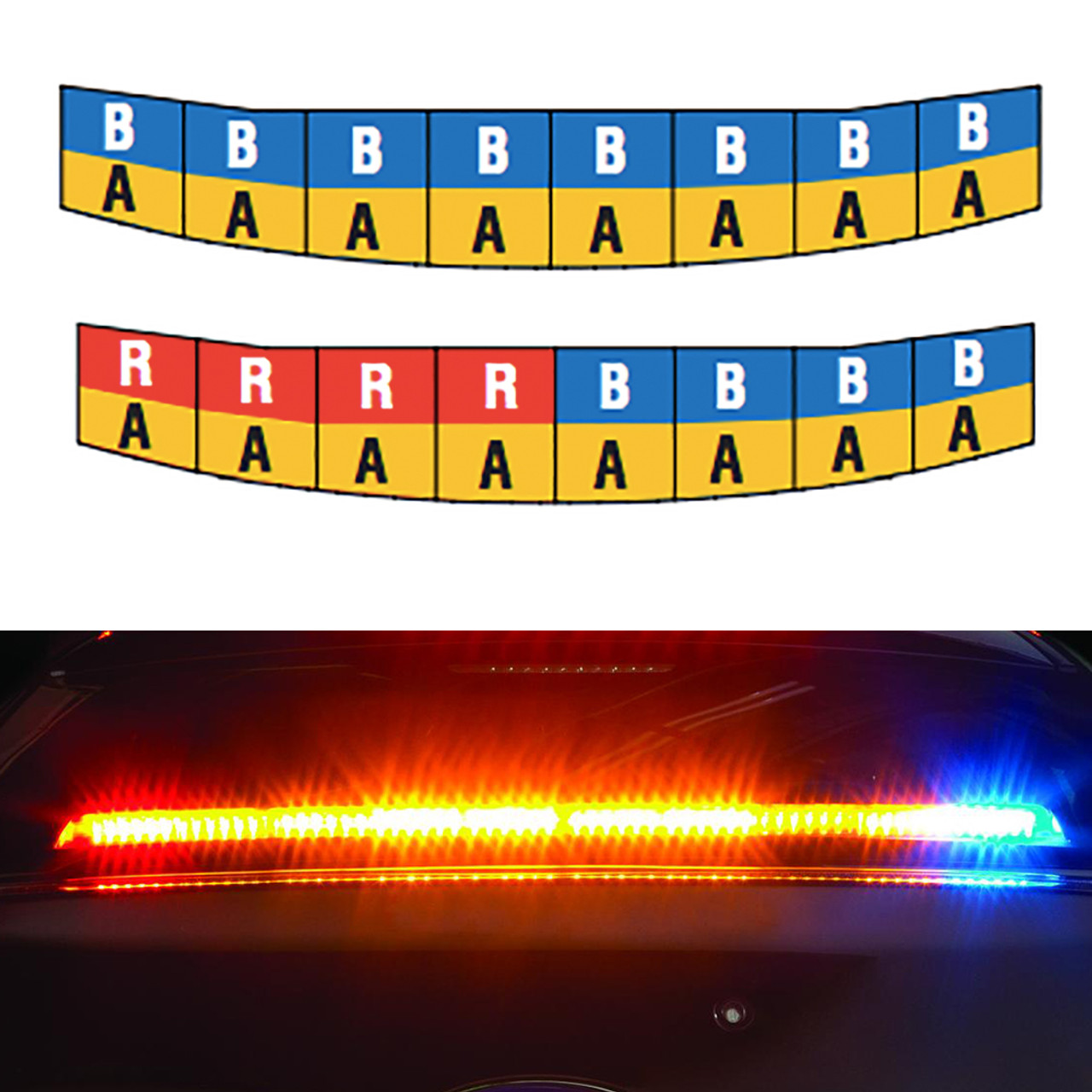 Federal Signal Dodge Charger SIFMR Lower Windshield Rear Facing Interior Lightbar, Spectralux ILS, Dual Color per head, available in Red, Blue, and Red/Blue with Amber Traffic Advisor
