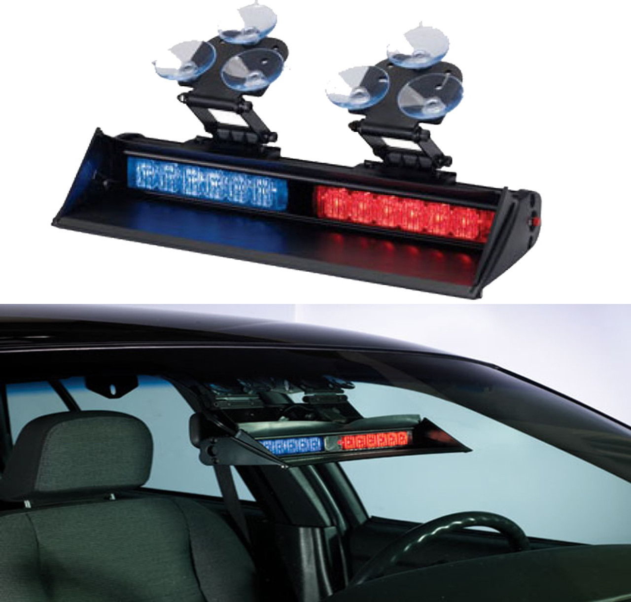 Code-3 XT6 Series Dual head Dash/Windshield Deck Interior 12-LED light 12/24 volt with Shroud, Plug & Suction Cup mount XT602