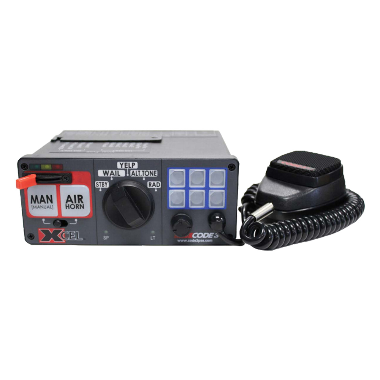 Code-3 Xcel™ PA and/or Siren, optional Light Controls, 12 or 24V, Hard-wired or Removable Microphone, 3424-, 3492-, 3496-