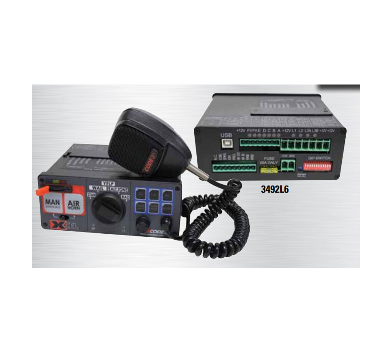 Code-3 Xcel™ PA and/or Siren, optional Light Controls, 12 or 24V, on