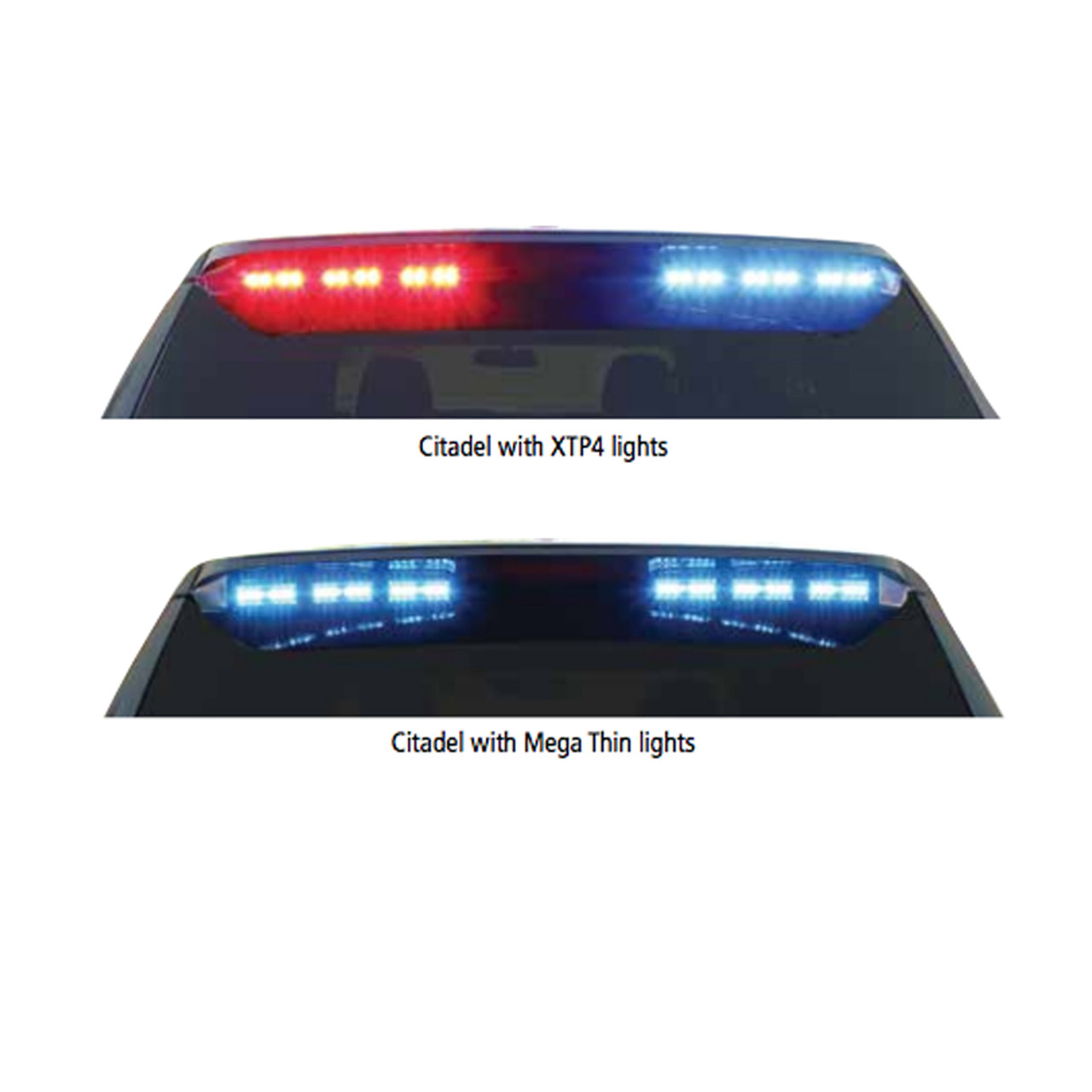 Code-3 Citadel™Rear Spoiler Warning and Traffic Advisor Light Bar (2000-2019 Chevy Suburban) MegaThin 6 LED Single color per lighthead, with flex controller for ArrowStik Functionality ULT6-SC-S
