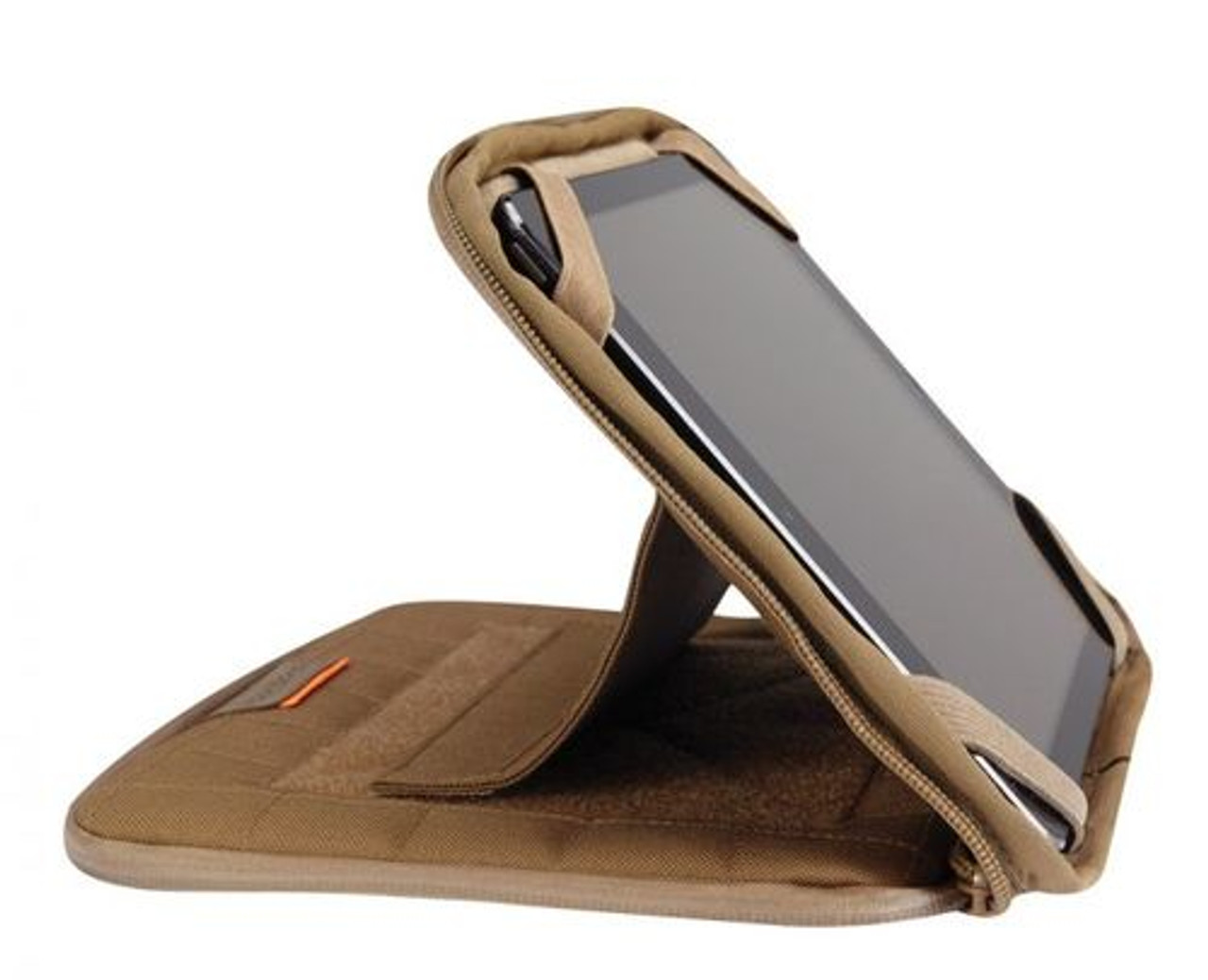 "Propper® 10"" Tablet Case with Stand that holds tablet horizontally at various angles, available in Black, Coyote Brown, and Olive Green, F5636"