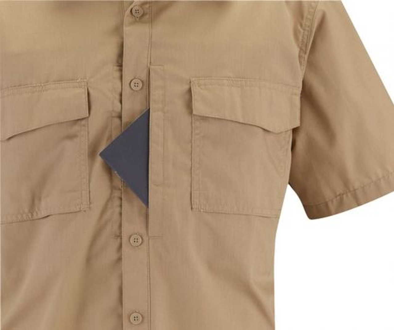 Propper® F5303 Men's Rev-Tac Tactical Casual Button-Down Shirt, Short Sleeve, 65% polyester/cotton 35% ripstop with 2 Chest Pockets, Mic Loop, Badge Tab, available in black, khaki, olive and LAPD Navy