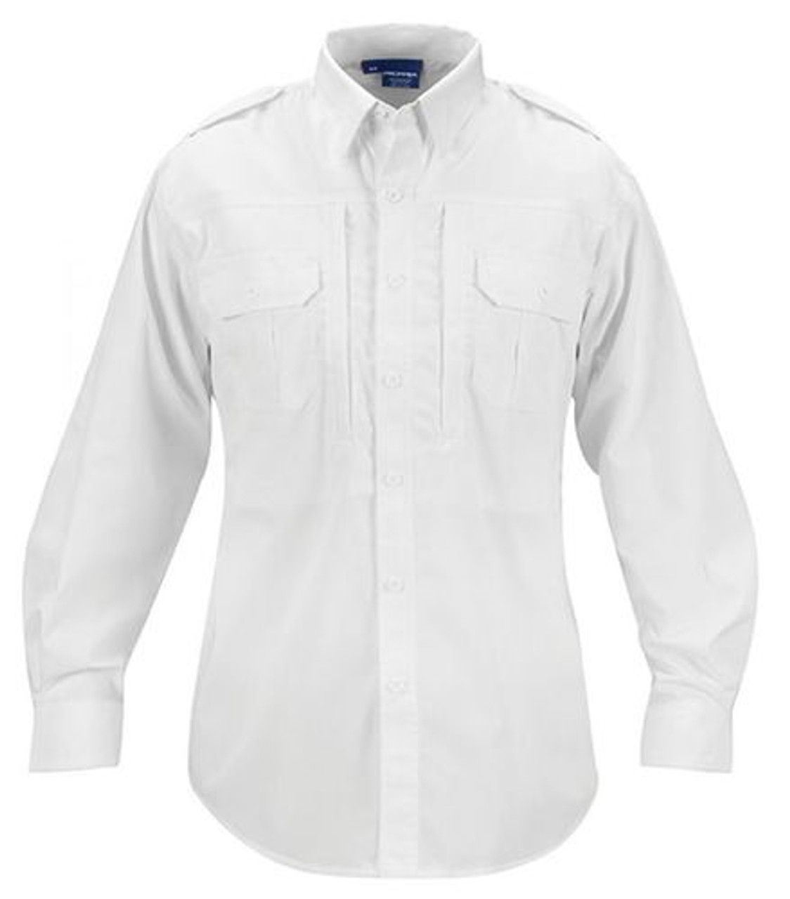 Propper® F53121M100 Men's White Tactical Button-Down Shirt, Long Sleeve, Casual or Uniform, Polyester/Cotton, 2 Chest Pockets, Badge Tab, Shoulder Epaulette