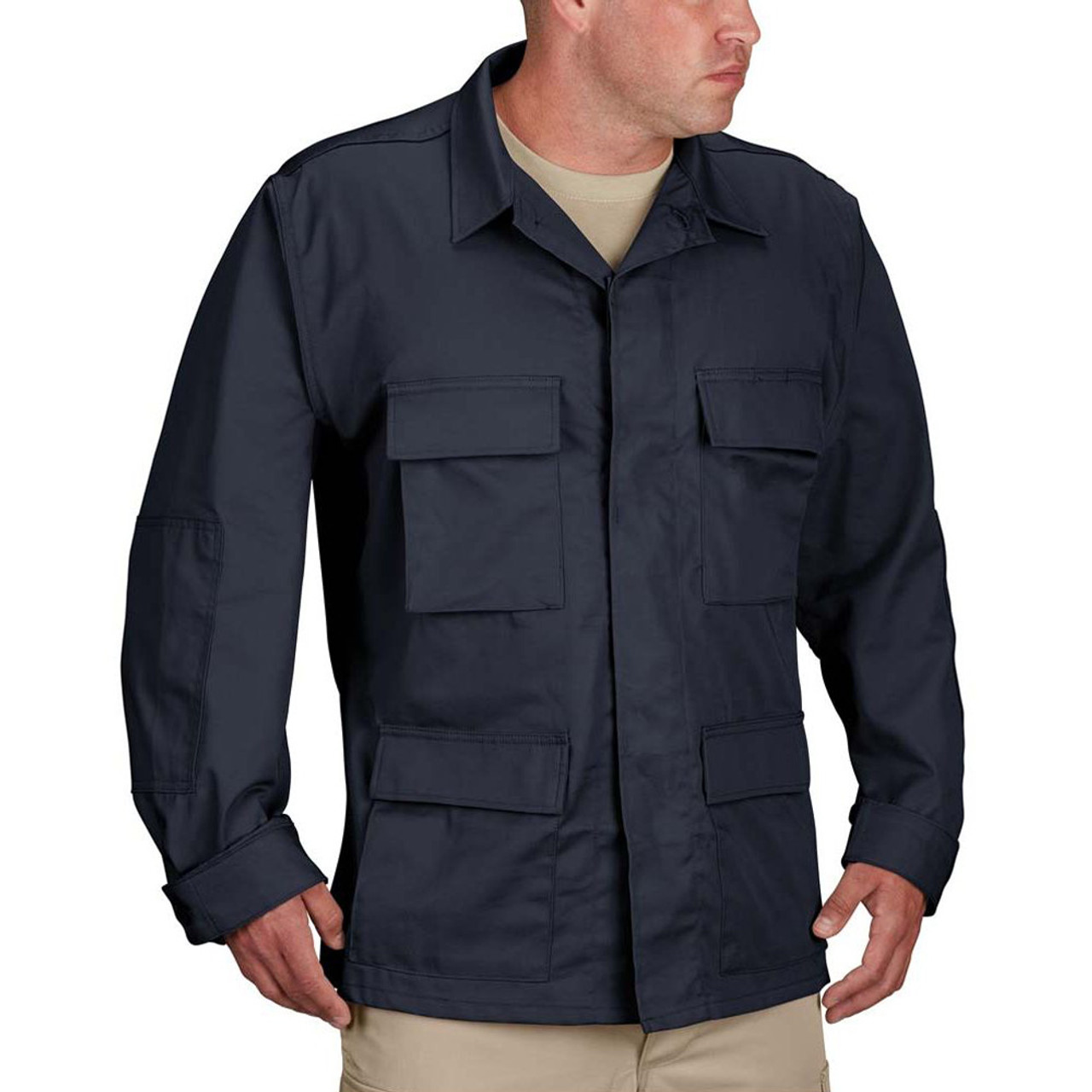 Propper® F5454-12 BDU Tactical Uniform Coat Jacket, Cotton/Polyester twill, Adjustable Cuffs,  Four front cargo pockets with hidden button flaps, available in black, khaki, woodland, olive and dark navy,