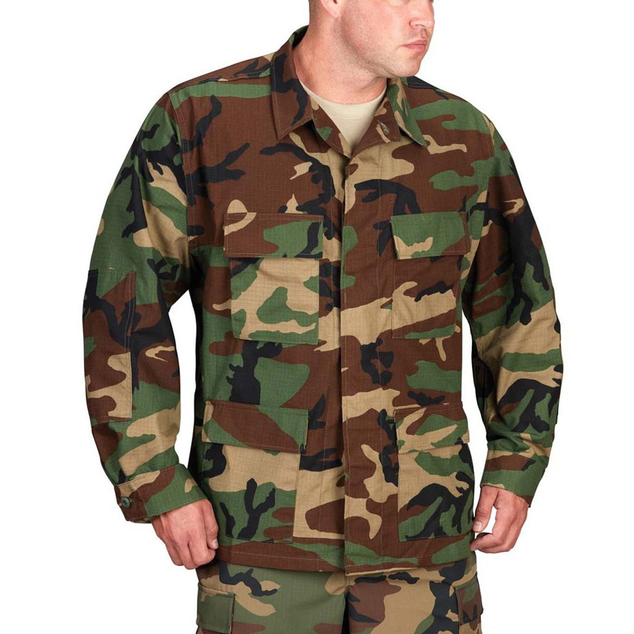 Propper® F5454-55 BDU Tactical Uniform Coat Jacket, 100% Cotton ripstop, Four front cargo pockets, available in black, khaki, 3 color desert, woodland, olive and dark navy