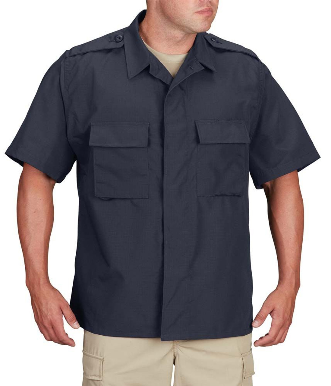 Propper® F5456 BDU Tactical Uniform Button-Down Short Sleeve Uniform Shirt, Fade-, Shrink- and Wrinkle-Resistant, 2 Chest Pockets With Hidden Button Flaps, Badge Tab