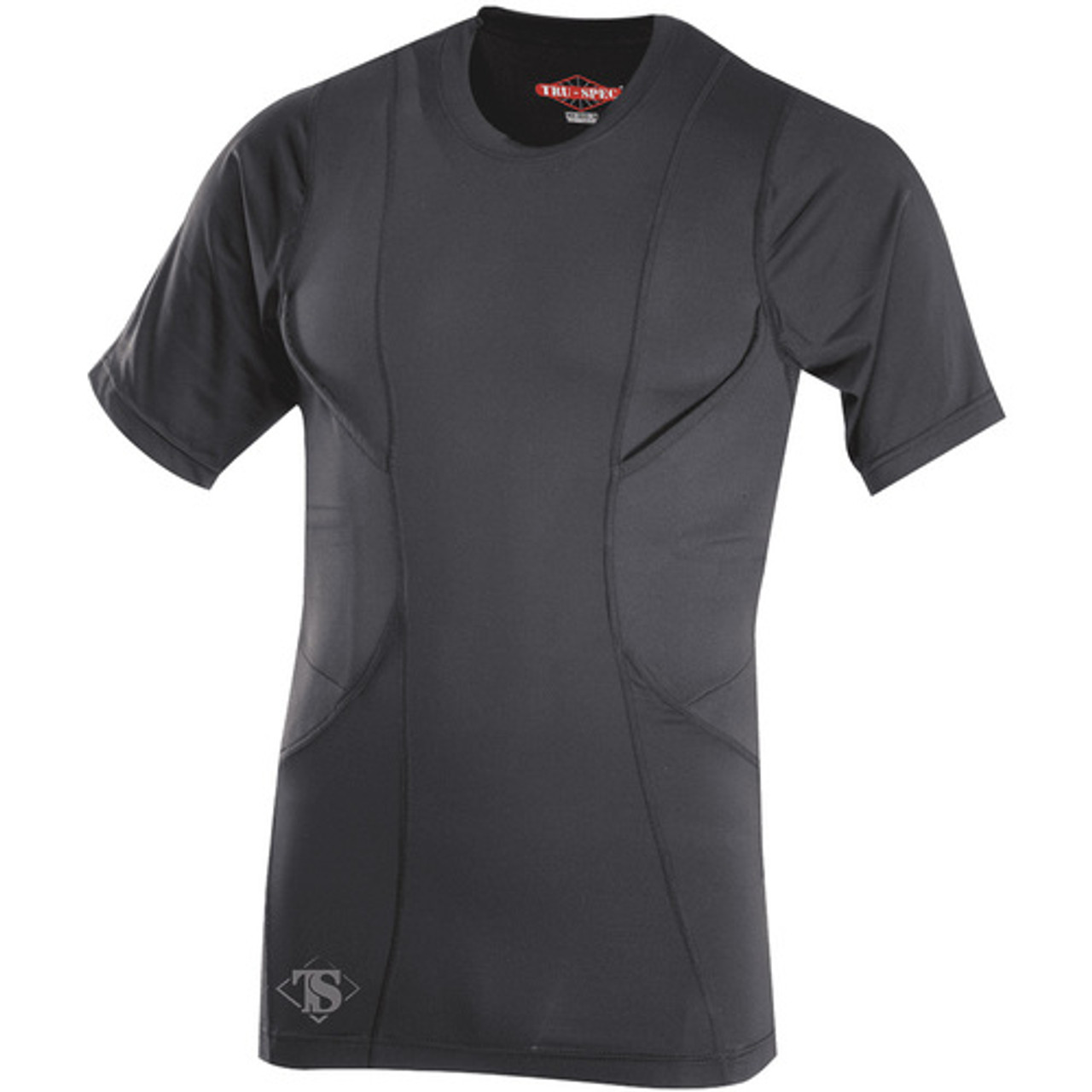 Tru-Spec 24-7 Series® Men's Short Sleeve Concealed Holster Tactical Shirt, anti-microbial, 85% Polyester/15% Spandex with Holster pocket, available in Black and White TS-1226