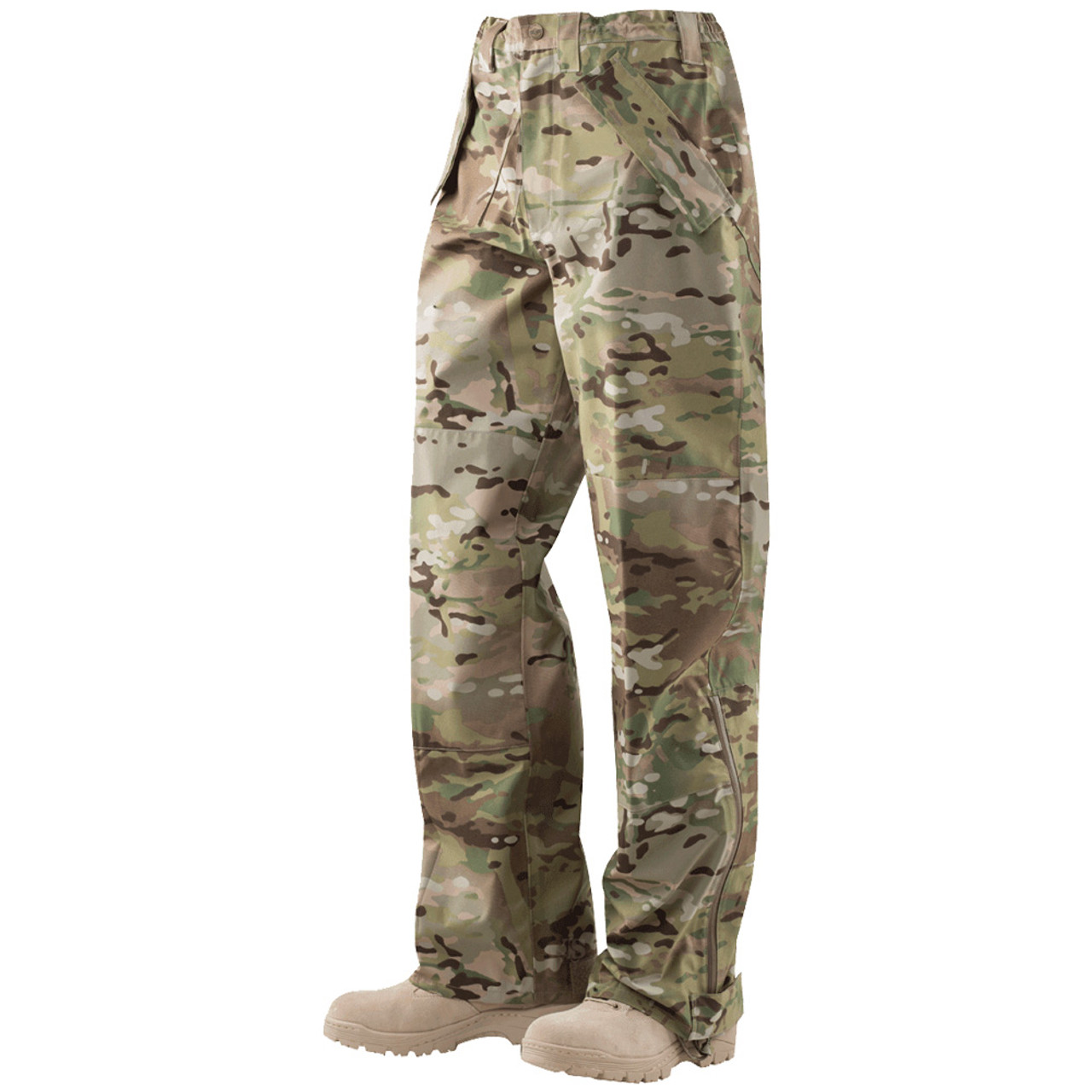 Tru-Spec 2045 H2O Proof ECWCS Tactical MultiCam Pants, 3-Layer Breathable Nylon, Relaxed Fit, Adjustable Waist, Waterproof, Windproof, Zipper leg openings with hook and loop ankle adjustments