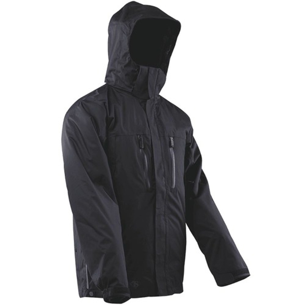 Tru-Spec TS-2497 Outerwear Water Proof Element Casual Tactical Jacket, with Side hand pockets, Adjustable cuff, and Zip-off hood, Black