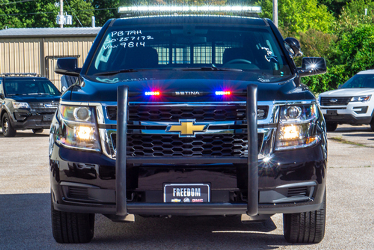New 2019 Black Tahoe 4x4 PPV Marked Patrol Turnkey Police Package Ready for the Road pre-built with Red-Blue Federal Signal LED Lights and Equipment,  Free Delivery, 5.3 Liter V8