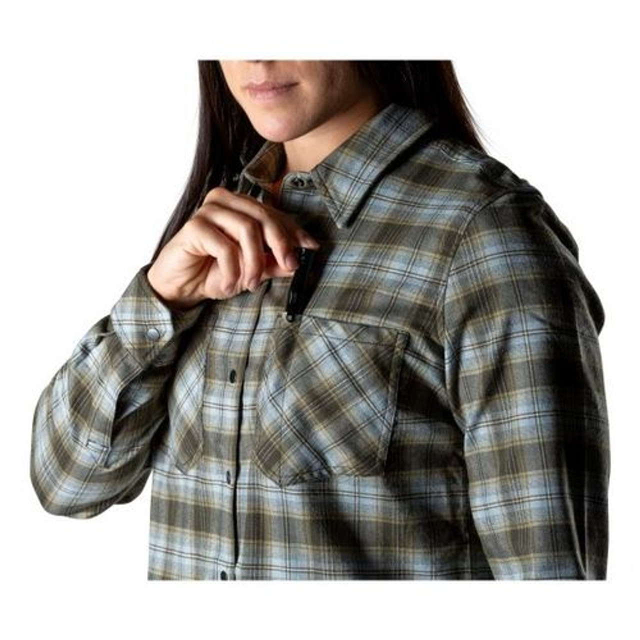 5.11 Tactical 62391 HANNA FLANNEL, Casual or Uniform Button-Down Long Sleeve Shirt, Polyester/Elastane