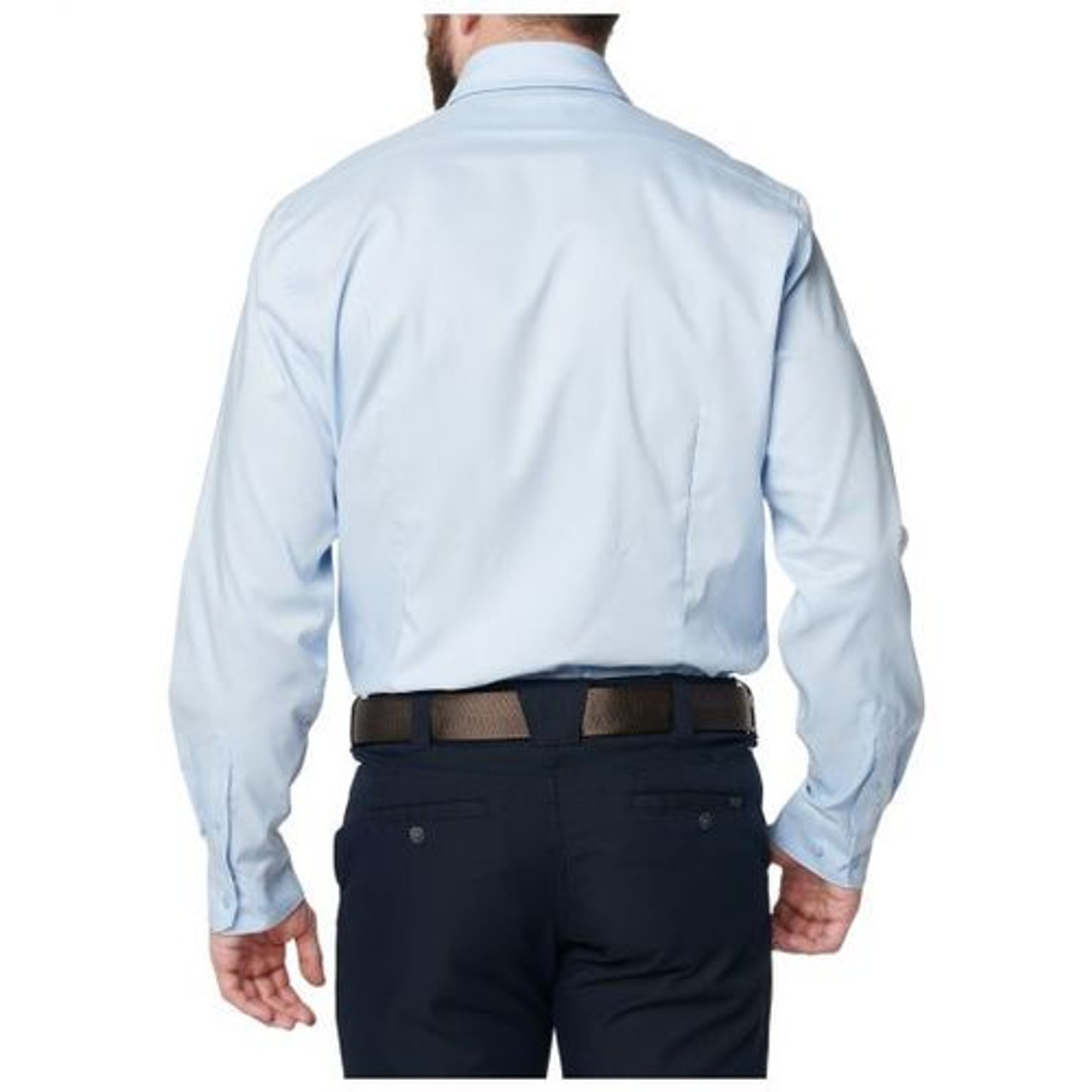 5.11 Tactical 72489 Mission Ready Fitted Long Sleeve Button-Down Casual Shirt, Polyester/Cotton, available in White, Fossil, or Blue Water