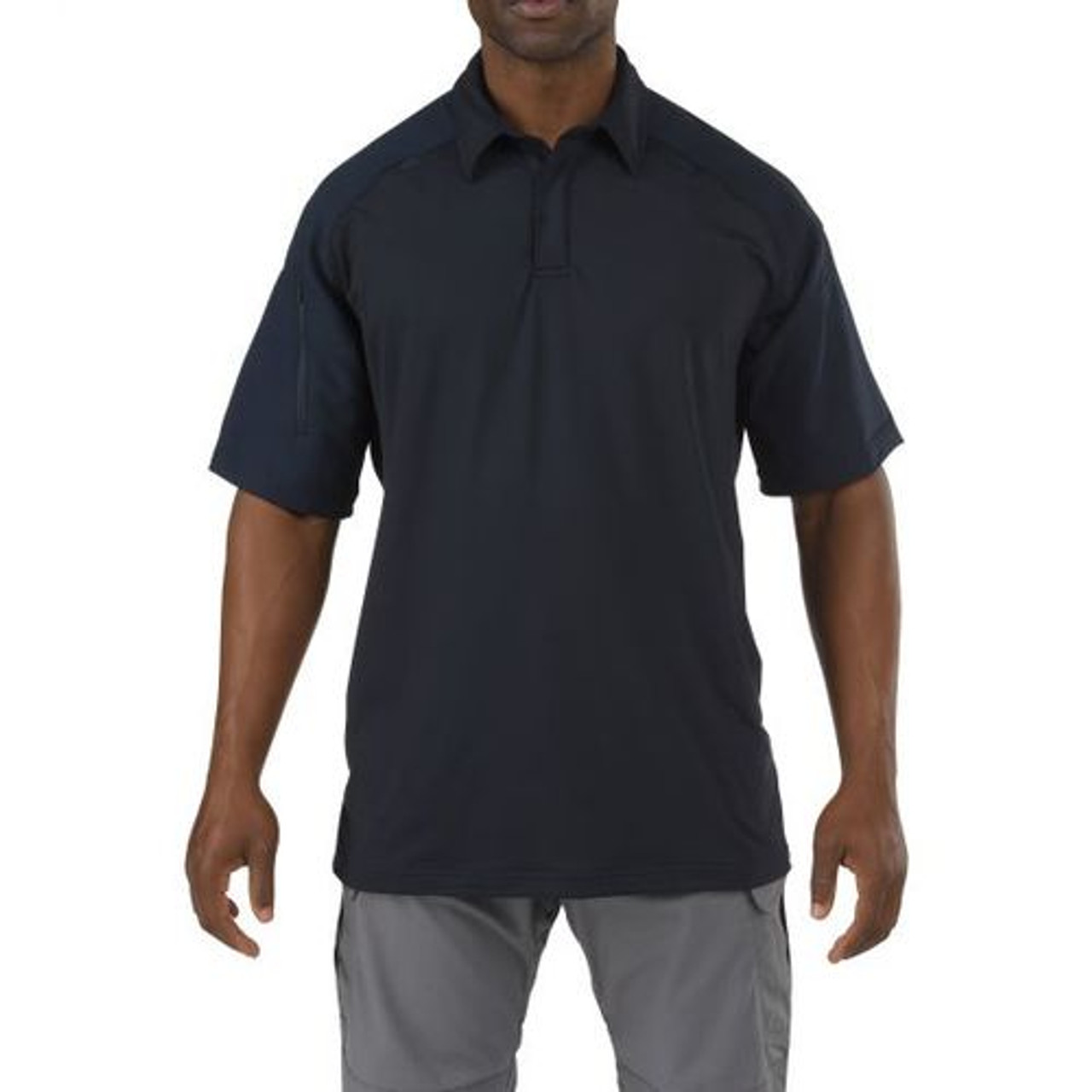 5.11 Tactical 41018 Rapid Response Short Sleeve Uniform or Casual Polo Shirt, Shoulder and Sterunm Mic Loops, Moisture Wicking Polyester Fabric, Sleeve Pocket, Available in Black, Silver Tan, TDU Green, Fire Med Blue, and Dark Navy