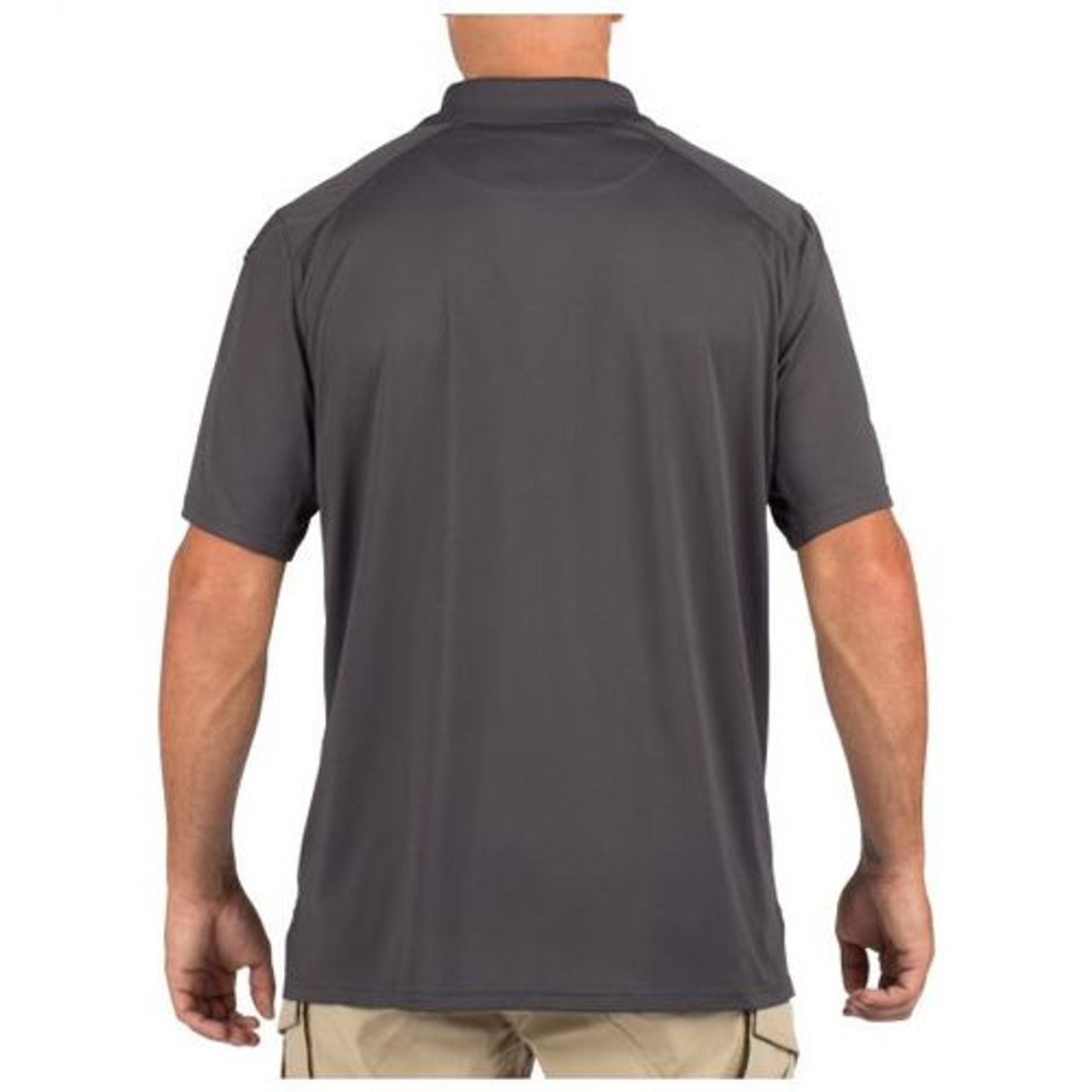 5.11 Tactical Men's Helios Short Sleeve Polo Shirt, Shoulder and Sternum Mic Loops, for Casual or Uniform Use, available in Heather Grey, Charcoal, Black, Silver Tan, Range Red, Academy Blue, and Dark Navy 41192