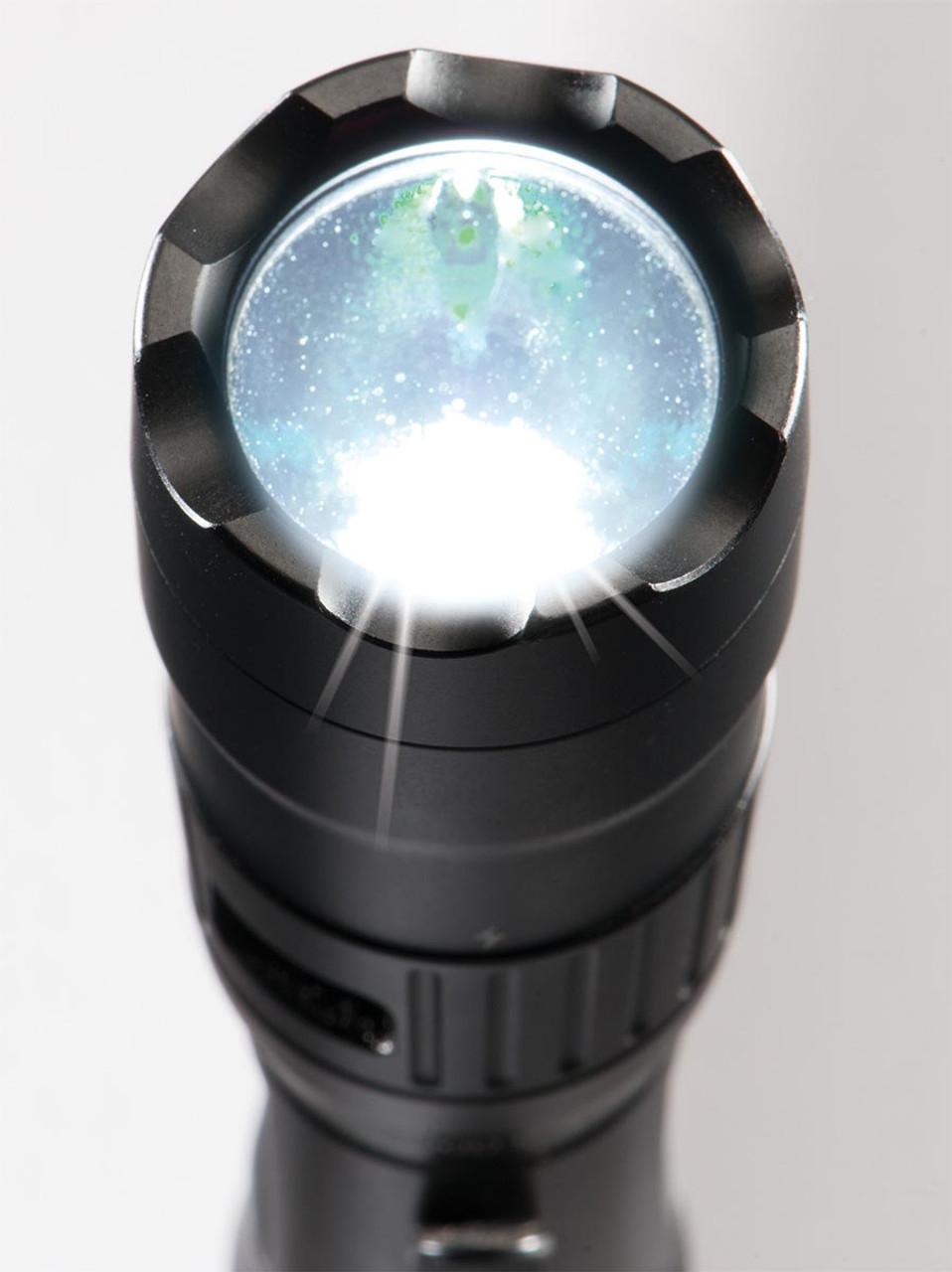 Pelican Tactical LED Flashlight, Full Time Battery Level Indication, 3 LED Color, Black 7600