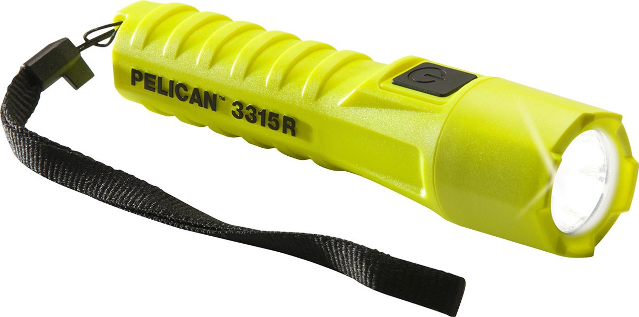 Pelican LED Flashlight, With Lanyard, 3 modes: High / Strobe / Low, 132 Lumens, Available in Black or High Visibility Yellow 3315R