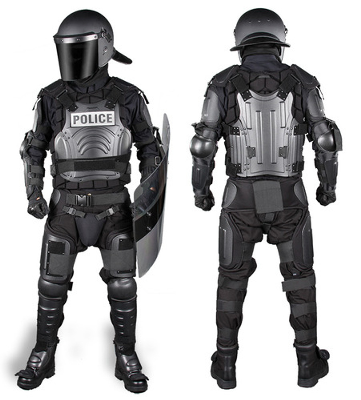 Damascus FX-1 Flex-Force Police Riot Gear Protective Suit, a complete set except the helmet that includes upper body, shoulder, forearm, groin, thigh, knee and shin protection, also includes a Gear Bag
