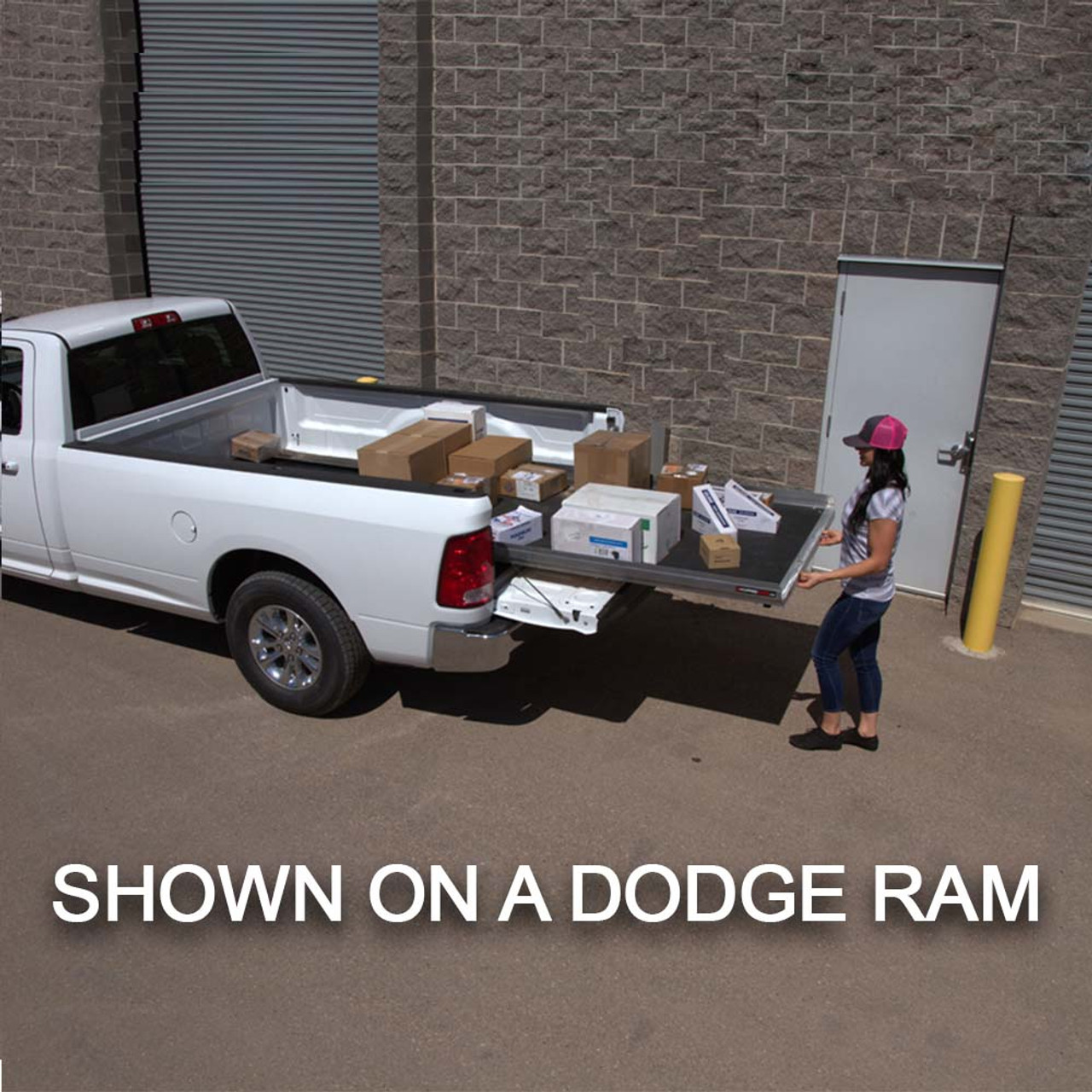 """Cargo-Glide CG1000 Ford Raptor, Steel Truck-Bed Slide and Extender, 1000 lb capacity, 65-75% Extension, 4"""" side rails, 3.875"""" deck height, includes installation kit"""