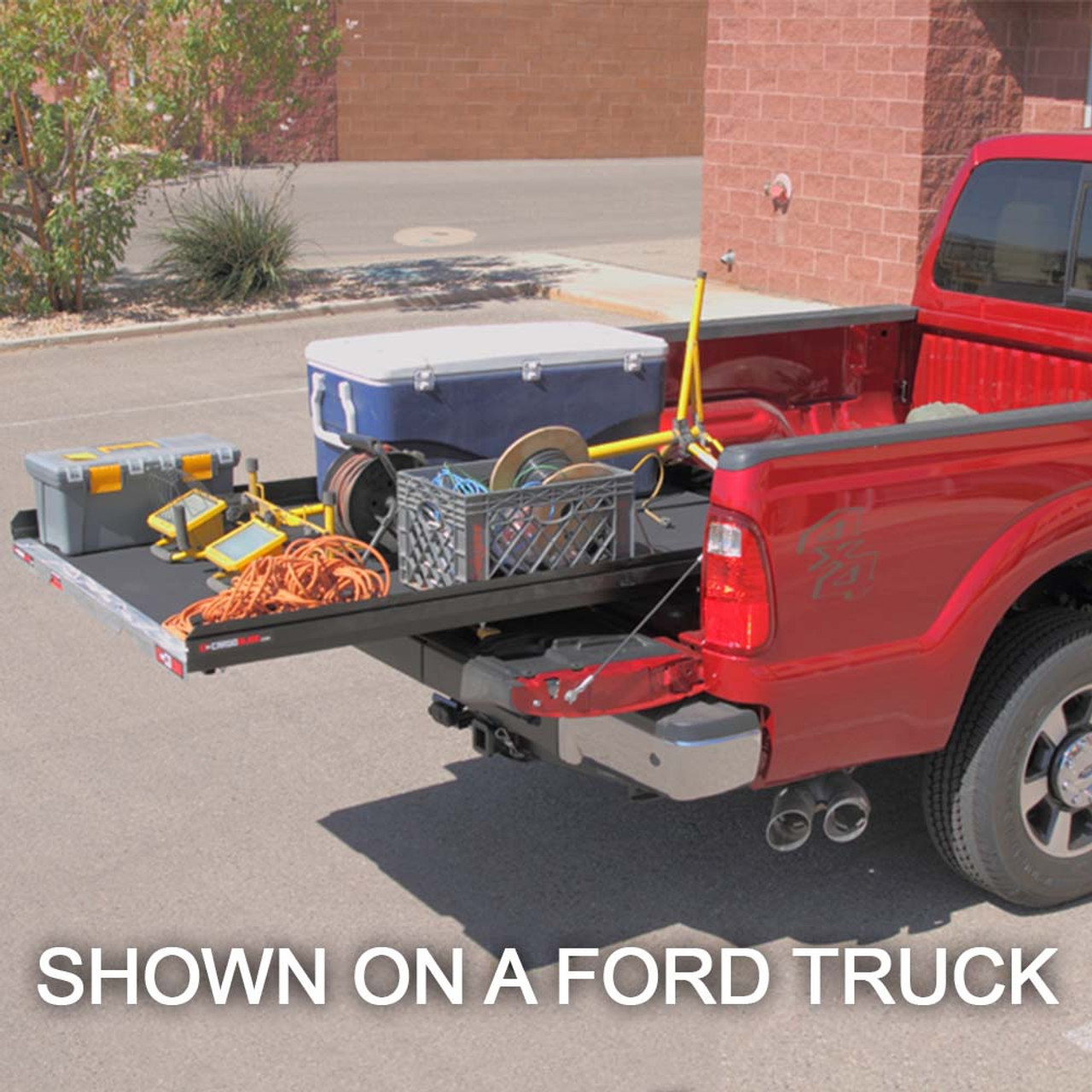 """Cargo-Glide CG1000 Tahoe Steel Truck-Bed Slide and Extender, 1000 lb Capacity, 65-75% Extension, 4"""" Side Rails, 3.875"""" Deck Height, Includes Installation Kit"""