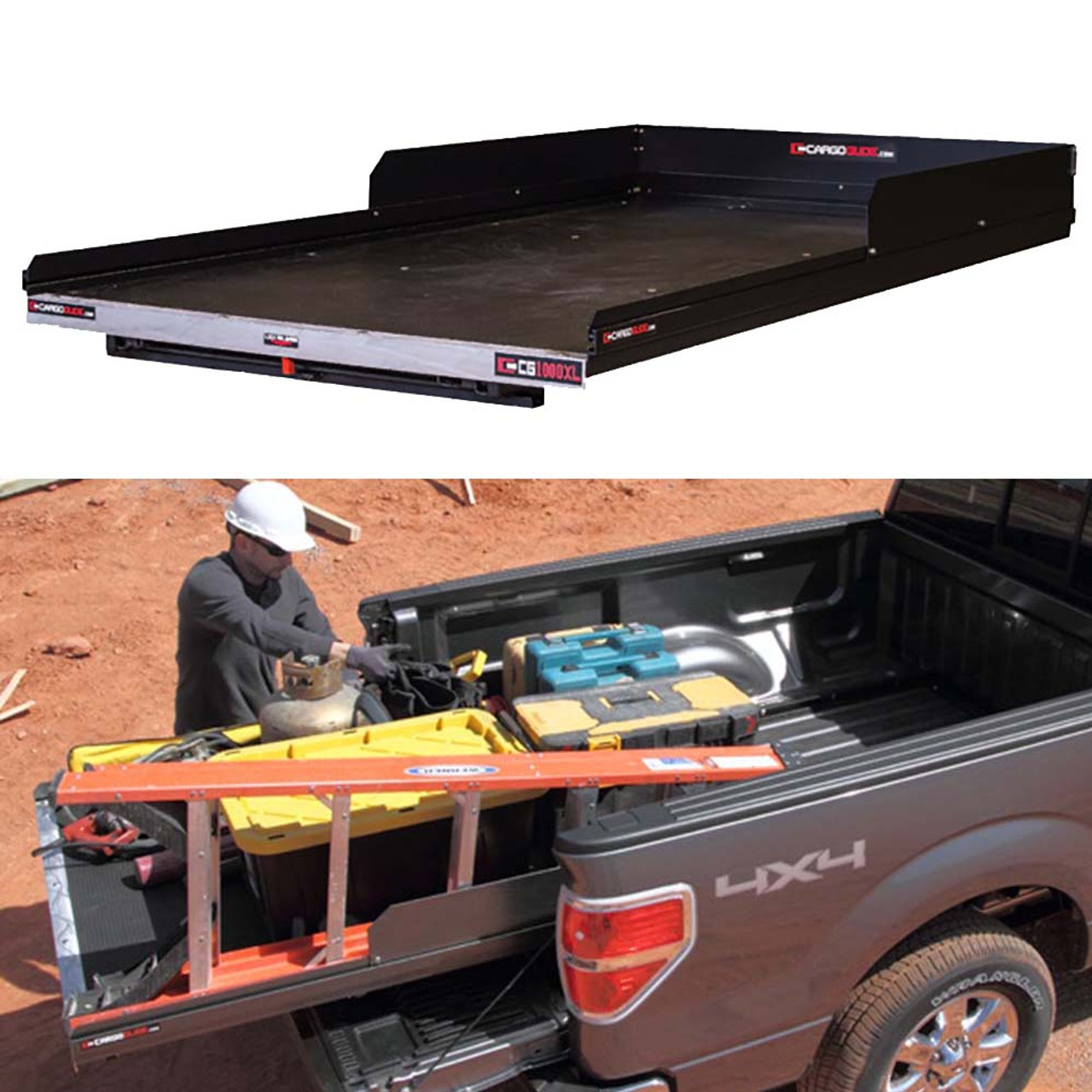"Cargo-Glide CG1000XL Toyota Tundra Steel Truck-Bed Slide and Extender, 1000 lb Capacity, 100% Extension, 4"" Side Rails with 8"" High Sides, 4.5"" Deck Height, Includes Installation Kit"