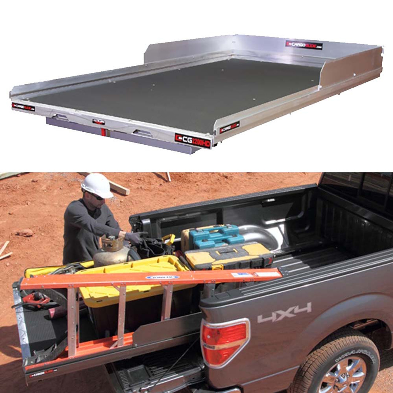 Truck Side Rails >> Cargo Glide Cg2200hd Toyota Tundra Steel Truck Bed Slide And Extender 2200 Lb Capacity 65 75 Extension 4 Side Rails With 8 High Sides 5 25
