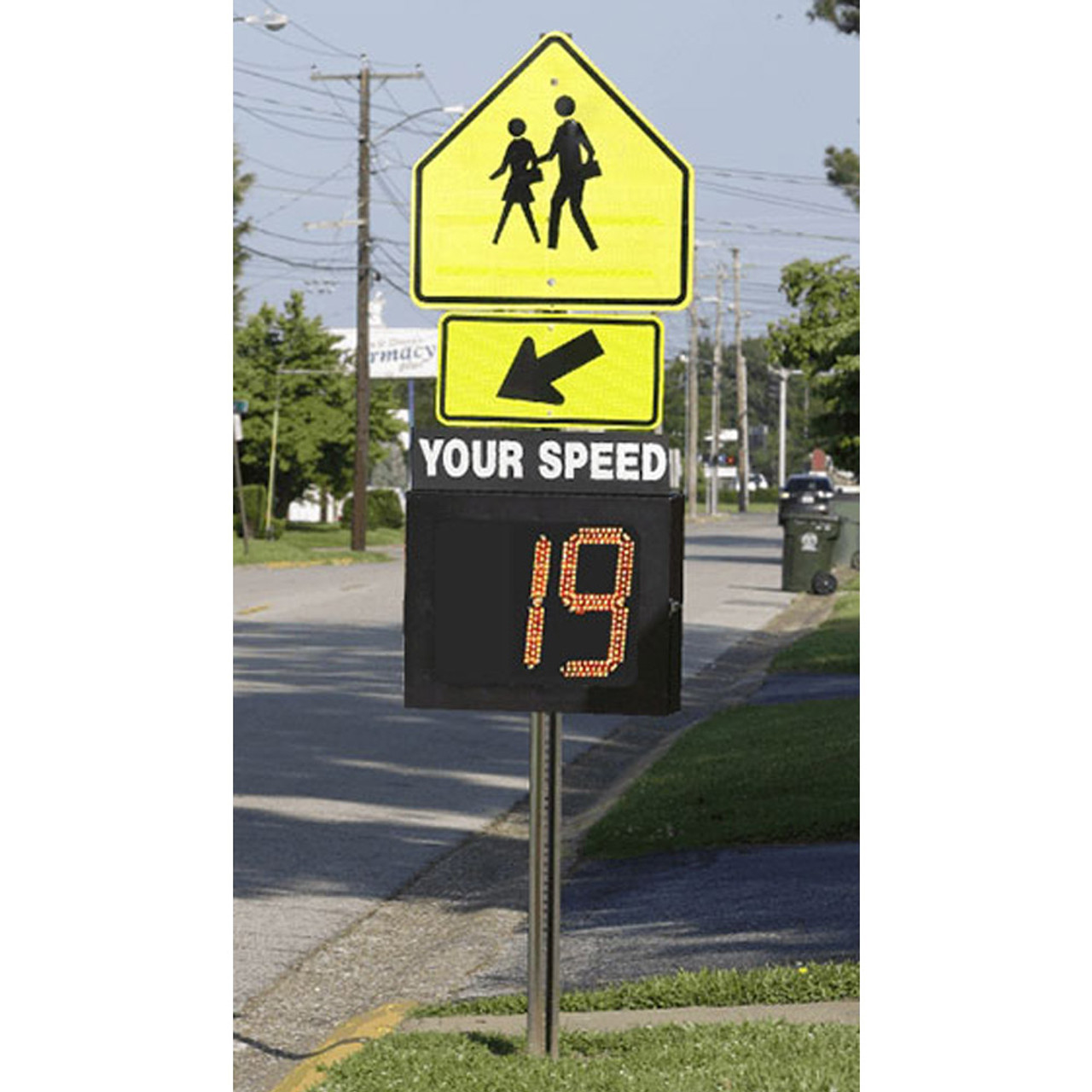 MPH Speed Guardian Radar Speed Display Sign Package, Pole Mount, Pole Not Included, 2-Digit Amber Display with Overspeed Notifications, choose 110 Volt AC, Internal Battery, or Solar Powered