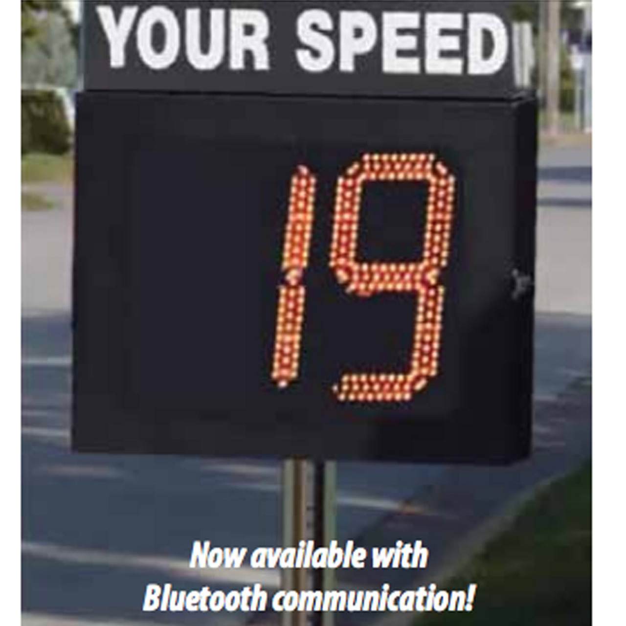 MPH Crossing Guard Radar Speed Sign, Movable Display, Includes Rolling Base/Enclosure - Pole - and Sign, 2-Digit Amber Display with Overspeed Notifications