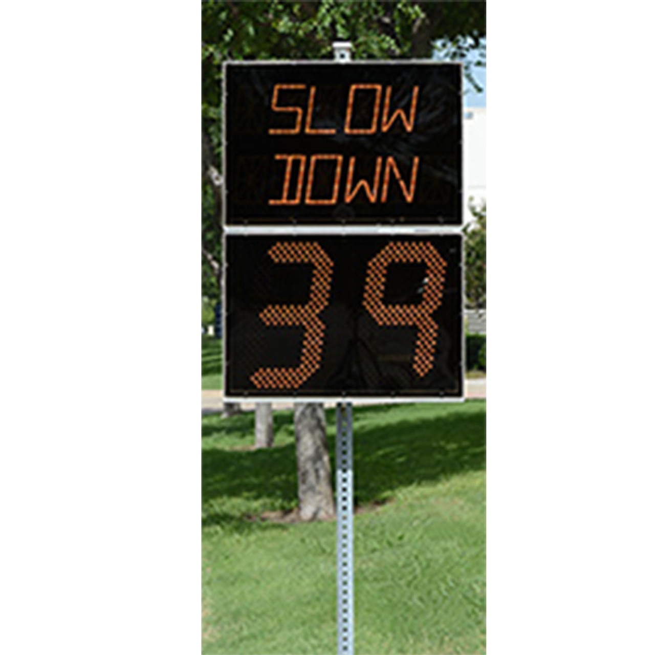 Stalker Pole Mounted Message Display Board and Radar Speed Sign (PMMD), Traffic Control, includes Bluetooth, includes 3 preconfigured messages: SLOW DOWN, SCHOOL ZONE, and SPEED LIMIT,  optional Traffic Data Analyst