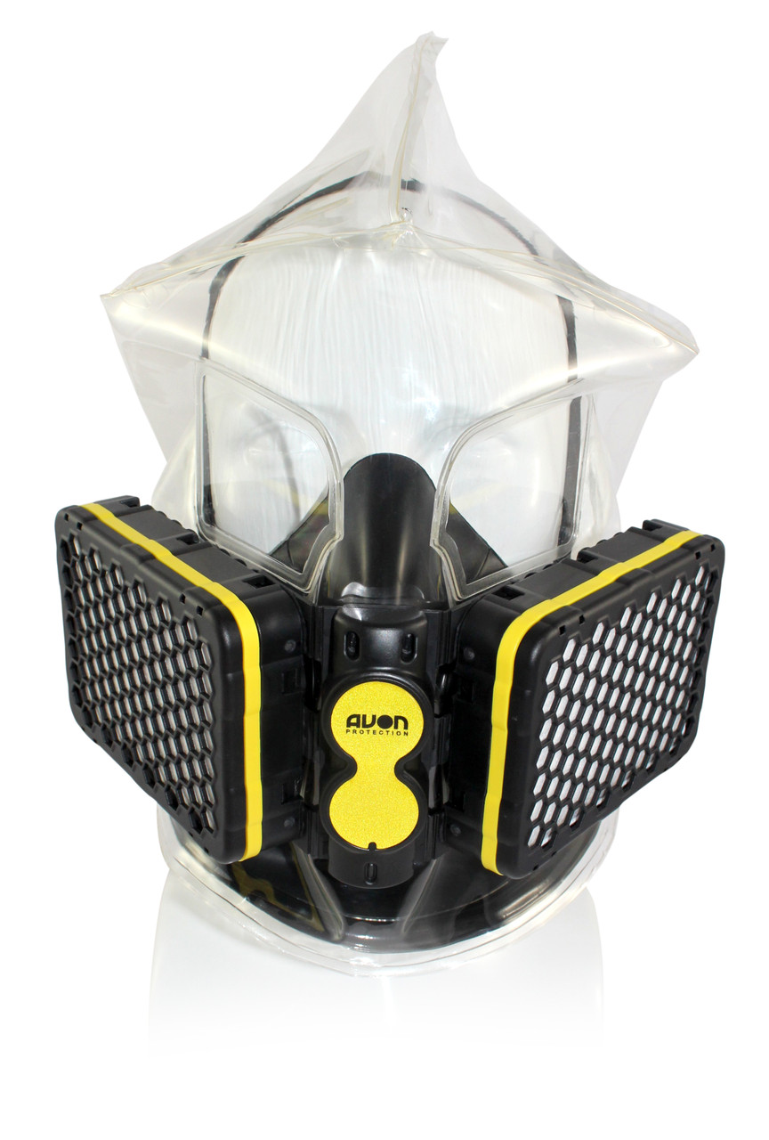 Avon Protection NH15 Combo, CBRN and Carbon Monoxide (CO) Air Purifying Escape Respirator and See-Through Escape Hood, super compact, includes attachment for duty belt and leg strap