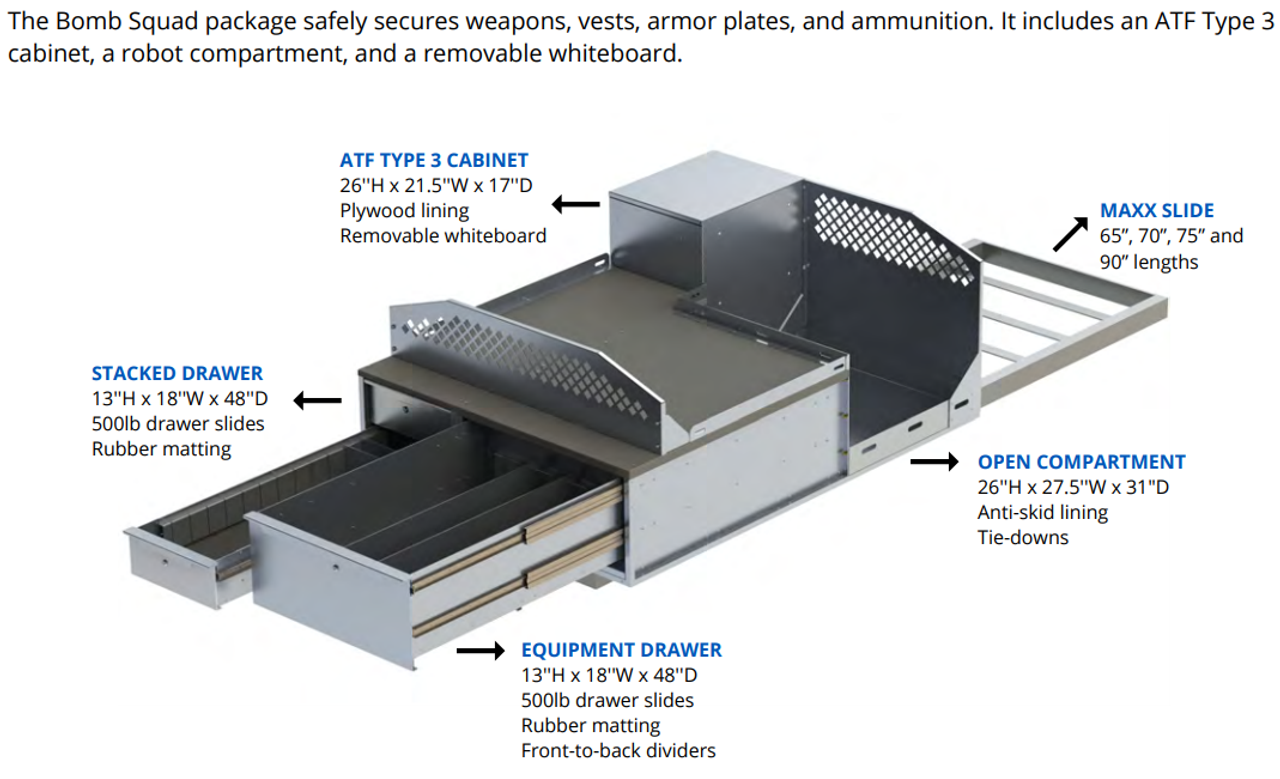 OPS Bomb Squad Truck-Bed, Large SUV, Van Storage Cabinets and Slide-Out Package, Multiple Aluminum Drawers, Removable Whiteboard, ATF Type 3 Explosive Cabinet, Robot Tie-Downs, Fits Ford, Chevy, Dodge, and more, OP-TDU-30-48-72-701