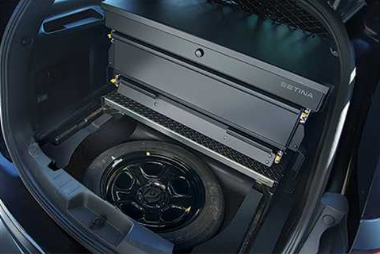 Setina Ford Police Interceptor SUV Utility and Explorer Storage Organizer Rear Cargo Box, includes EZ Lift, still access spare tire, 2013-2019, 2020, Not Compatible with a Radio Tray