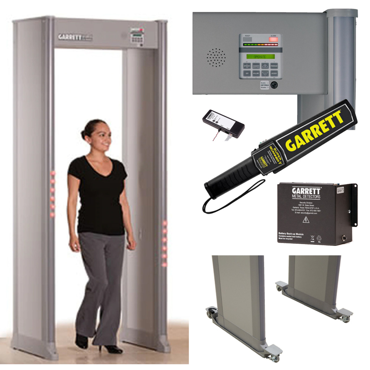 Garrett PD-6500i Walk-Through Metal Detector Package includes: Hand-Held Super-Scanner V, 14 A-H Lithium MZ Backup Battery, Wheels, Wireless Sync to Operate Multiple Systems, 3 Yr Warranty; for Security, Airports, Arenas, Sporting Events, Courthouses