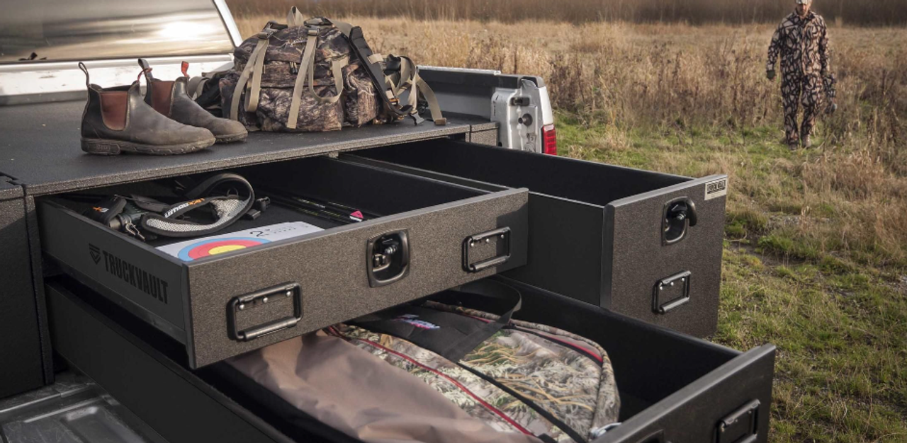 TruckVault Field Ranger Universal Pickup Truck All-Weather Series Storage  System with 3 Drawers, Includes Folding