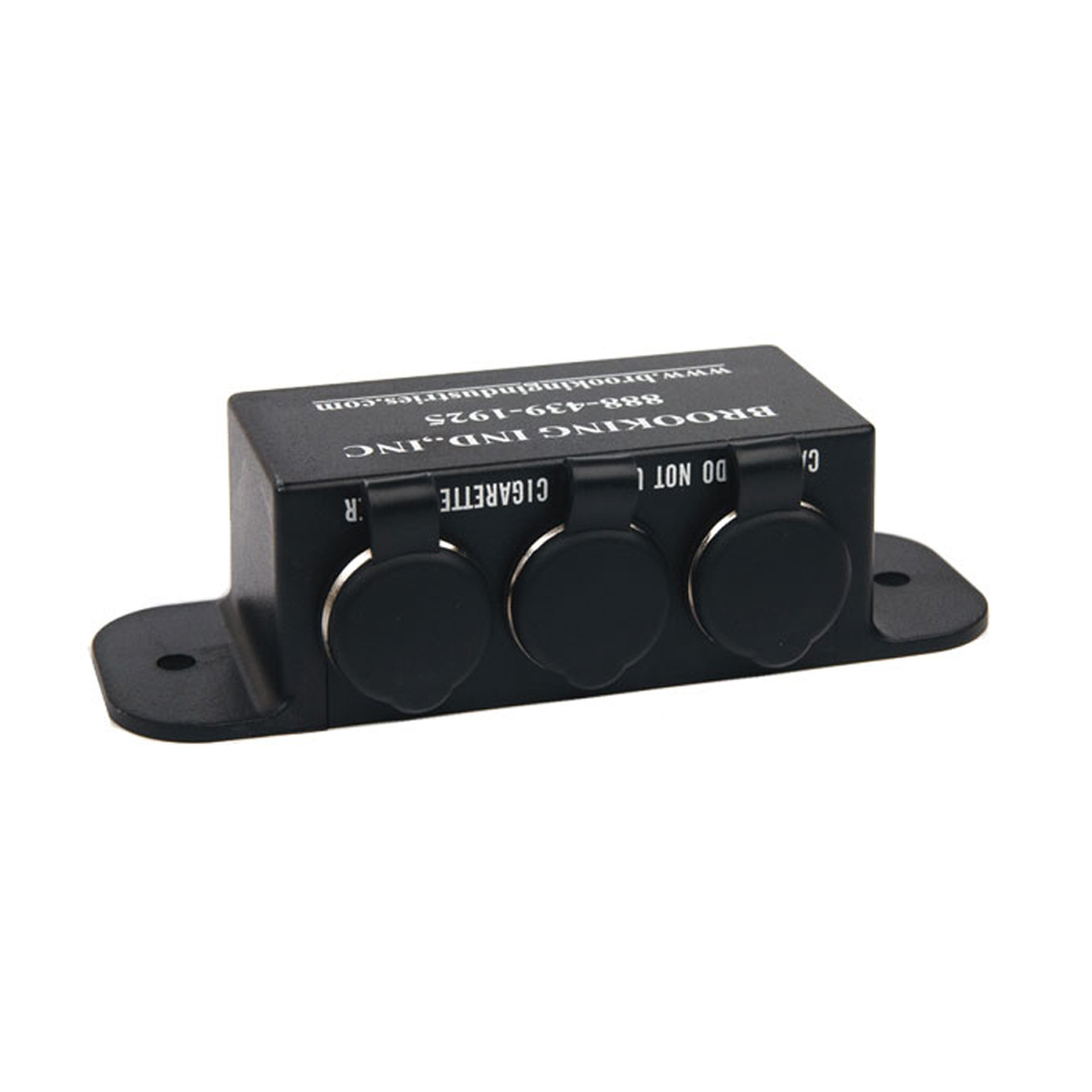 Brooking 3 Hole Outlet Box Console Accessory with Flange mount, Choose Hardwire or Cigar Plug Model