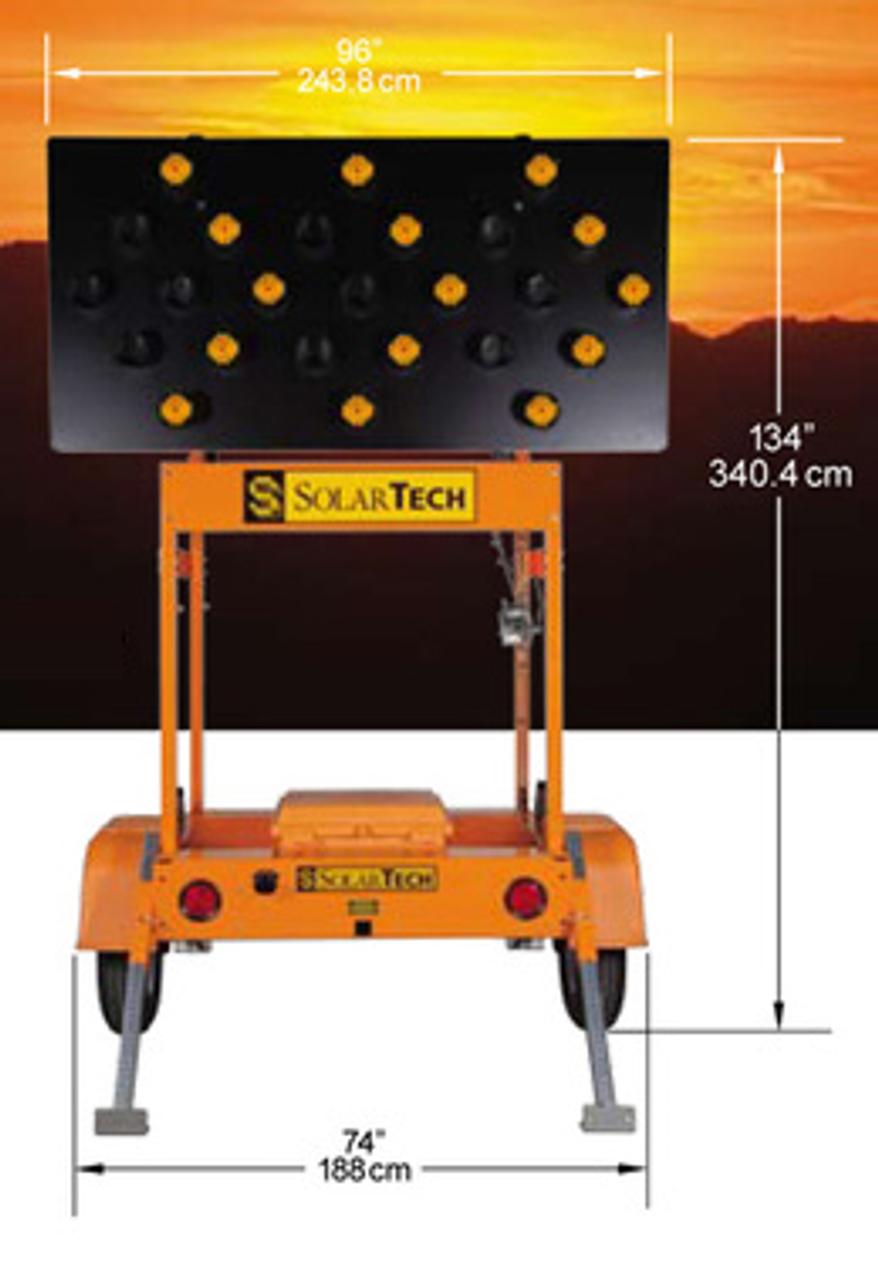 Solar Powered Arrow Board Trailer Traffic Advisor Panel 25 LED Lamp by SolarTech