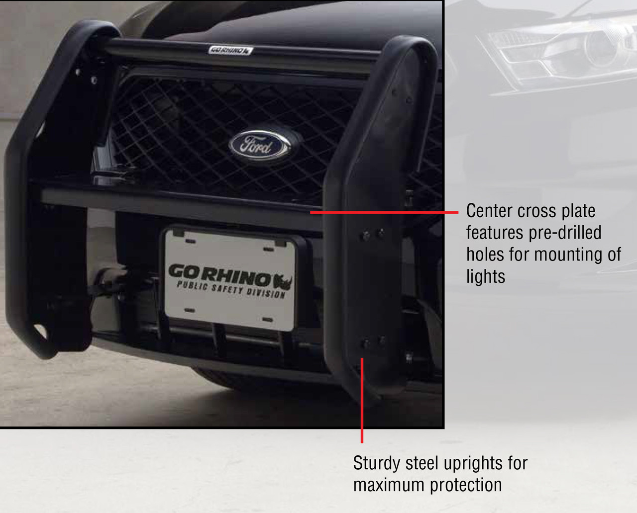 Go Rhino Police Interceptor Sedan Taurus Push Bumper with Wrap Arounds, 2013-2019