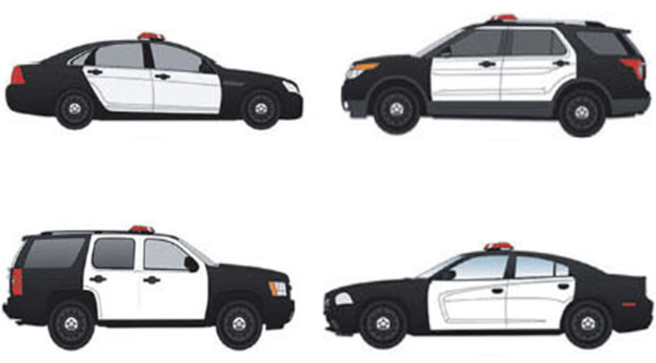 Police Vehicle Vinyl Graphics Door Wrap Kit for All Four Doors, White or Black