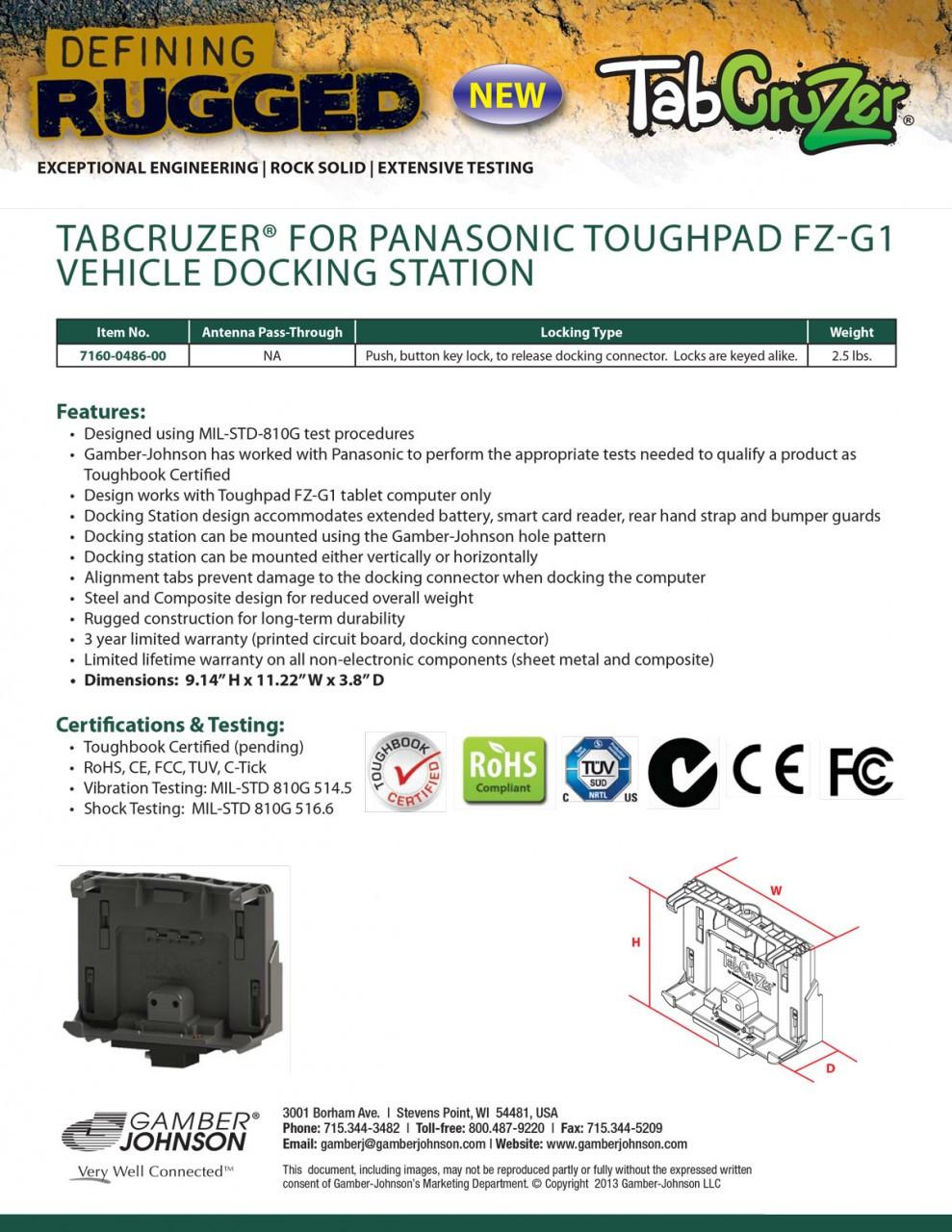 TabCruzer® Panasonic Toughpad FZ-G1 Vehicle Docking Station by Gamber-Johnson