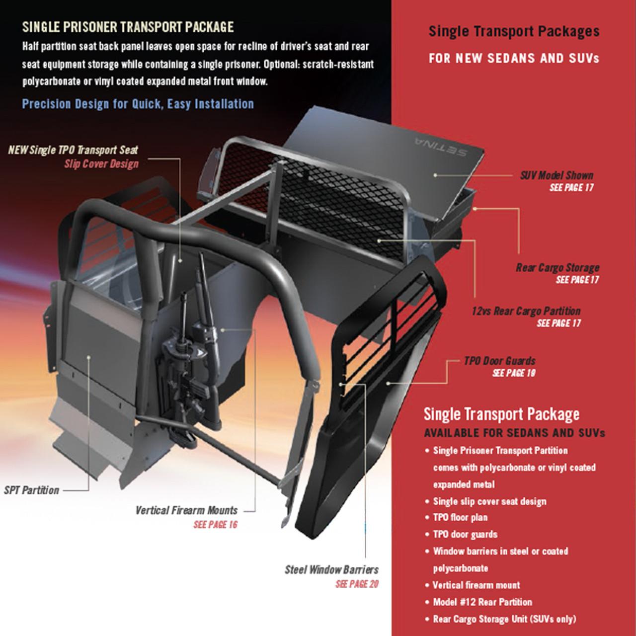 Setina Ford Police Interceptor Utility SUV (Explorer) 2013-2019 & 2020 Single Prisoner Total Transport Solution System