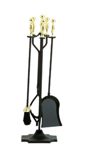 Dagan DG-3532 Five Piece Fireplace Tool Set, Black and Polished Brass