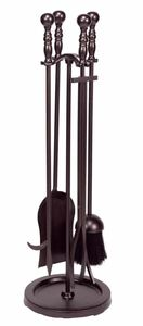 Dagan DG-AHF550 Five Piece Fireplace Tool Set, Bronze