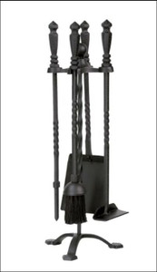 Dagan DG-1105 Five Piece Wrought Iron Stove Fireplace Tool Set, Black
