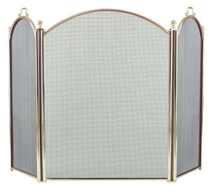 Dagan DG-2383-34 Three Fold Polished Brass Arched Fireplace Screen, 52x34-Inches