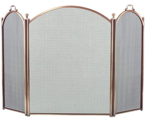 Dagan DG-4383-34 Three Fold Antique Brass Arched Fireplace Screen, 52x34-Inches