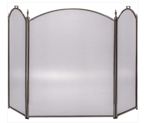 Dagan DG-3132-9PW Three Fold Pewter Arched Fireplace Screen, 52x32-Inches